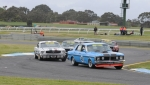 Rod \'Hot Chicken\' Hotchkin leads Darrin Davies\' ex-John Mann Mustang on to the straight