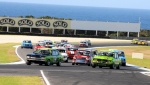 Steve Land\'s Capri leads Jason Armstrong\'s superfast Mini and Ben Read\'s Mazda into Turn 4